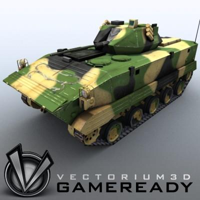 3D Model of Game-ready model of modern Chinese airborne fighting vehicle ZLC2000 with two RGB textures: 1024x1024 for AFV and 1024x512 for track and wheels. - 3D Render 0