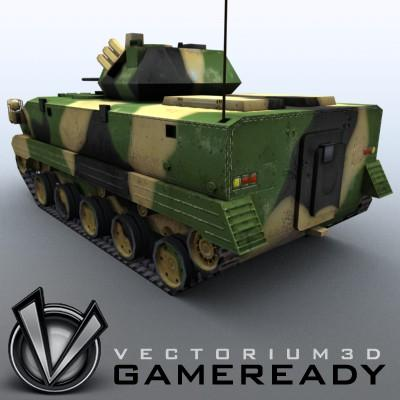 3D Model of Game-ready model of modern Chinese airborne fighting vehicle ZLC2000 with two RGB textures: 1024x1024 for AFV and 1024x512 for track and wheels. - 3D Render 1