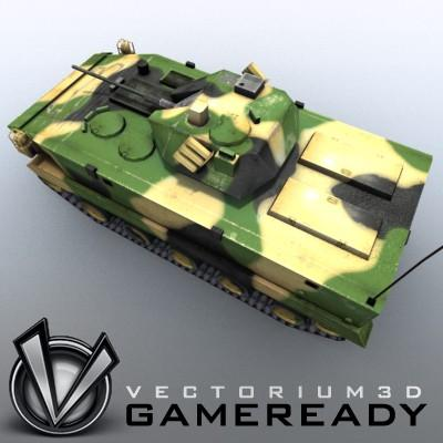 3D Model of Game-ready model of modern Chinese airborne fighting vehicle ZLC2000 with two RGB textures: 1024x1024 for AFV and 1024x512 for track and wheels. - 3D Render 2
