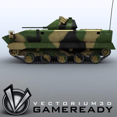 3D Model of Game-ready model of modern Chinese airborne fighting vehicle ZLC2000 with two RGB textures: 1024x1024 for AFV and 1024x512 for track and wheels. - 3D Render 3