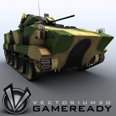 3D Model of Game-ready model of modern Chinese airborne fighting vehicle ZLC2000 with two RGB textures: 1024x1024 for AFV and 1024x512 for track and wheels. - 3D Render 4