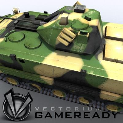 3D Model of Game-ready model of modern Chinese airborne fighting vehicle ZLC2000 with two RGB textures: 1024x1024 for AFV and 1024x512 for track and wheels. - 3D Render 6