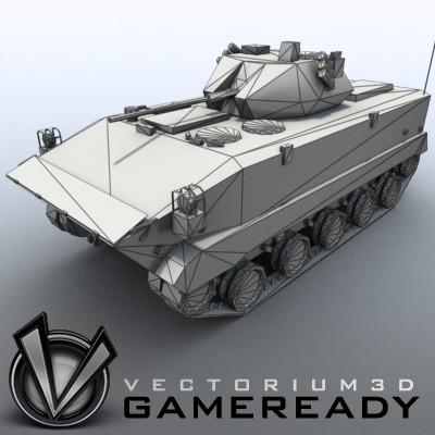 3D Model of Game-ready model of modern Chinese airborne fighting vehicle ZLC2000 with two RGB textures: 1024x1024 for AFV and 1024x512 for track and wheels. - 3D Render 7
