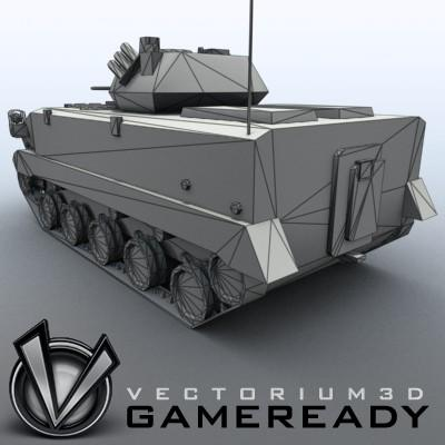 3D Model of Game-ready model of modern Chinese airborne fighting vehicle ZLC2000 with two RGB textures: 1024x1024 for AFV and 1024x512 for track and wheels. - 3D Render 8