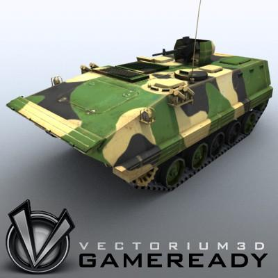 3D Model of Game-ready model of modern Chinese Armoured Personnel Carrier ZSD89 (Type89) with two RGB textures: 1024x1024 for APC and 1024x512 for track and wheels. - 3D Render 0