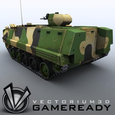 3D Model of Game-ready model of modern Chinese Armoured Personnel Carrier ZSD89 (Type89) with two RGB textures: 1024x1024 for APC and 1024x512 for track and wheels. - 3D Render 1