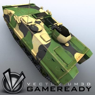 3D Model of Game-ready model of modern Chinese Armoured Personnel Carrier ZSD89 (Type89) with two RGB textures: 1024x1024 for APC and 1024x512 for track and wheels. - 3D Render 2