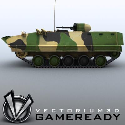 3D Model of Game-ready model of modern Chinese Armoured Personnel Carrier ZSD89 (Type89) with two RGB textures: 1024x1024 for APC and 1024x512 for track and wheels. - 3D Render 3