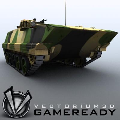 3D Model of Game-ready model of modern Chinese Armoured Personnel Carrier ZSD89 (Type89) with two RGB textures: 1024x1024 for APC and 1024x512 for track and wheels. - 3D Render 4