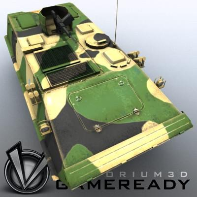 3D Model of Game-ready model of modern Chinese Armoured Personnel Carrier ZSD89 (Type89) with two RGB textures: 1024x1024 for APC and 1024x512 for track and wheels. - 3D Render 5