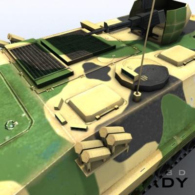 3D Model of Game-ready model of modern Chinese Armoured Personnel Carrier ZSD89 (Type89) with two RGB textures: 1024x1024 for APC and 1024x512 for track and wheels. - 3D Render 6