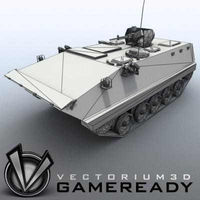 3D Model of Game-ready model of modern Chinese Armoured Personnel Carrier ZSD89 (Type89) with two RGB textures: 1024x1024 for APC and 1024x512 for track and wheels. - 3D Render 7