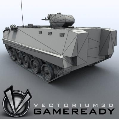 3D Model of Game-ready model of modern Chinese Armoured Personnel Carrier ZSD89 (Type89) with two RGB textures: 1024x1024 for APC and 1024x512 for track and wheels. - 3D Render 8
