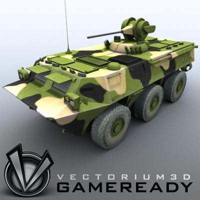 3D Model of Game-ready model of Chinese ZSL92 Wheeled Armoured Vehicle with 2 color schemes. Each scheme include: 3 RGB textures (hull,turret,wheels) and 1 RGBA texture (windows) - 3D Render 0