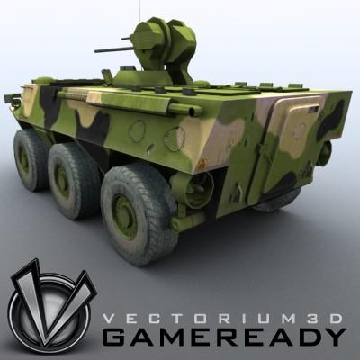 3D Model of Game-ready model of Chinese ZSL92 Wheeled Armoured Vehicle with 2 color schemes. Each scheme include: 3 RGB textures (hull,turret,wheels) and 1 RGBA texture (windows) - 3D Render 1