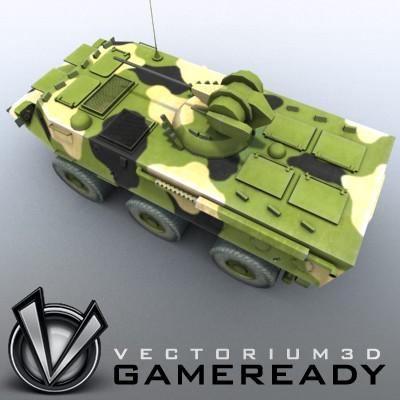 3D Model of Game-ready model of Chinese ZSL92 Wheeled Armoured Vehicle with 2 color schemes. Each scheme include: 3 RGB textures (hull,turret,wheels) and 1 RGBA texture (windows) - 3D Render 2