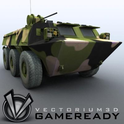 3D Model of Game-ready model of Chinese ZSL92 Wheeled Armoured Vehicle with 2 color schemes. Each scheme include: 3 RGB textures (hull,turret,wheels) and 1 RGBA texture (windows) - 3D Render 4