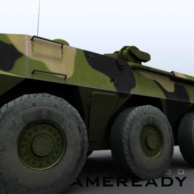 3D Model of Game-ready model of Chinese ZSL92 Wheeled Armoured Vehicle with 2 color schemes. Each scheme include: 3 RGB textures (hull,turret,wheels) and 1 RGBA texture (windows) - 3D Render 6