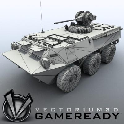 3D Model of Game-ready model of Chinese ZSL92 Wheeled Armoured Vehicle with 2 color schemes. Each scheme include: 3 RGB textures (hull,turret,wheels) and 1 RGBA texture (windows) - 3D Render 7