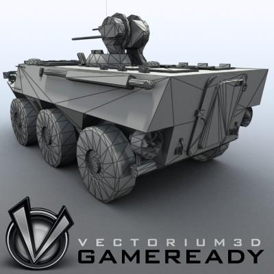 3D Model of Game-ready model of Chinese ZSL92 Wheeled Armoured Vehicle with 2 color schemes. Each scheme include: 3 RGB textures (hull,turret,wheels) and 1 RGBA texture (windows) - 3D Render 8