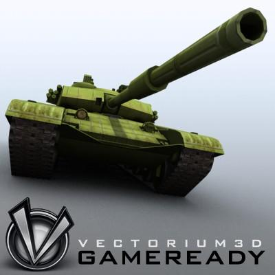 3D Model of Game-ready model of modern Chinese main battle tank ZTZ99 (Type 99) with two RGB textures: 1024x1024 for tank and 1024x512 for track and wheels. - 3D Render 0