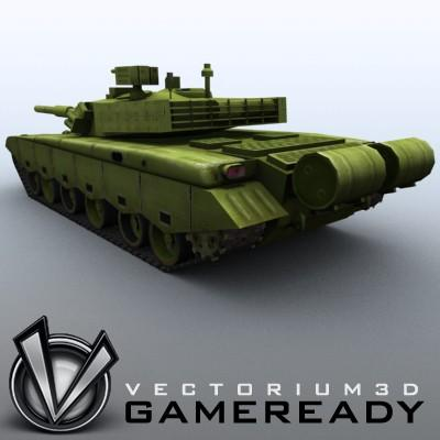 3D Model of Game-ready model of modern Chinese main battle tank ZTZ99 (Type 99) with two RGB textures: 1024x1024 for tank and 1024x512 for track and wheels. - 3D Render 2
