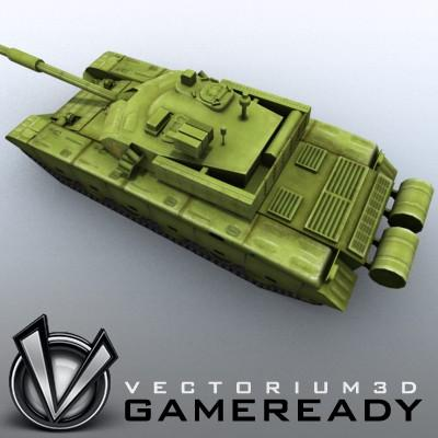 3D Model of Game-ready model of modern Chinese main battle tank ZTZ99 (Type 99) with two RGB textures: 1024x1024 for tank and 1024x512 for track and wheels. - 3D Render 3