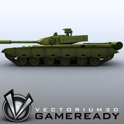 3D Model of Game-ready model of modern Chinese main battle tank ZTZ99 (Type 99) with two RGB textures: 1024x1024 for tank and 1024x512 for track and wheels. - 3D Render 4