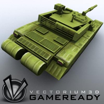 3D Model of Game-ready model of modern Chinese main battle tank ZTZ99 (Type 99) with two RGB textures: 1024x1024 for tank and 1024x512 for track and wheels. - 3D Render 5