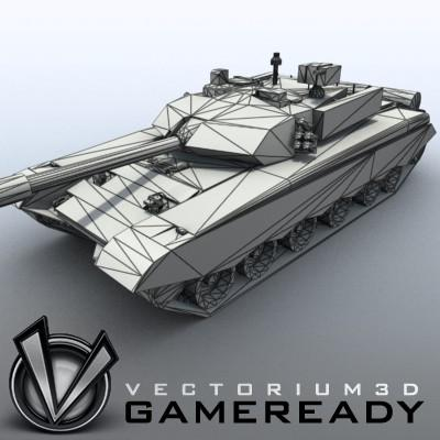 3D Model of Game-ready model of modern Chinese main battle tank ZTZ99 (Type 99) with two RGB textures: 1024x1024 for tank and 1024x512 for track and wheels. - 3D Render 7
