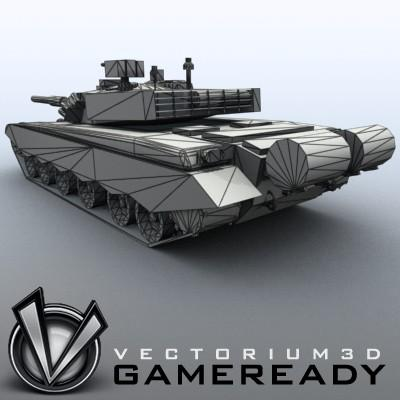 3D Model of Game-ready model of modern Chinese main battle tank ZTZ99 (Type 99) with two RGB textures: 1024x1024 for tank and 1024x512 for track and wheels. - 3D Render 8