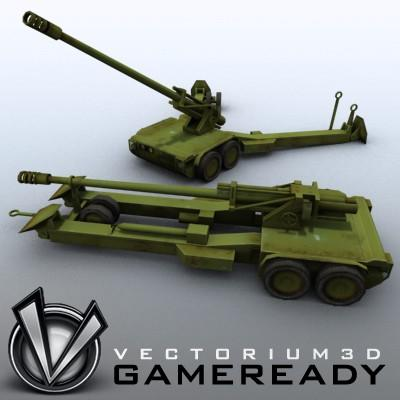 3D Model of Low res model of modern Chinese howitzer PLL01 (W88/890). - 3D Render 0