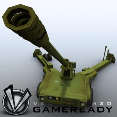 3D Model of Low res model of modern Chinese howitzer PLL01 (W88/890). - 3D Render 4