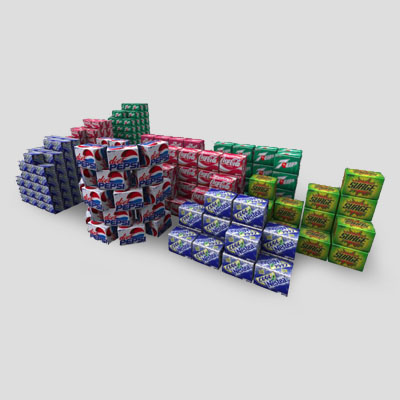 3D Model of Six and Twelve Pack pop boxes. - 3D Render 0