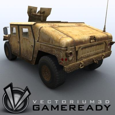3D Model of Low poly model of HUMVEE with one 1024x1024 diffusion/opacity TGA texture - 3D Render 2