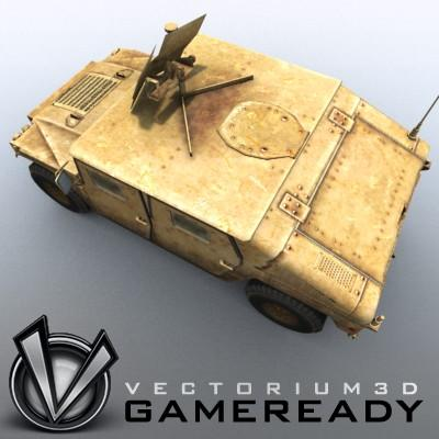 3D Model of Low poly model of HUMVEE with one 1024x1024 diffusion/opacity TGA texture - 3D Render 3