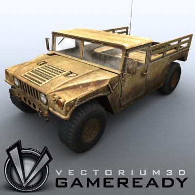 3D Model of Low poly model of HUMVEE with one 1024x1024 diffusion/opacity TGA texture - 3D Render 1