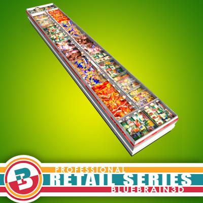 3D Model of Grocery Store Freezers - Open Top - 3D Render 0