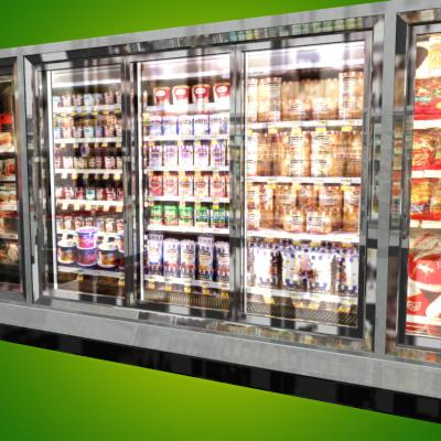 3D Model of Grocery Store Freezer Wall - 3D Render 6