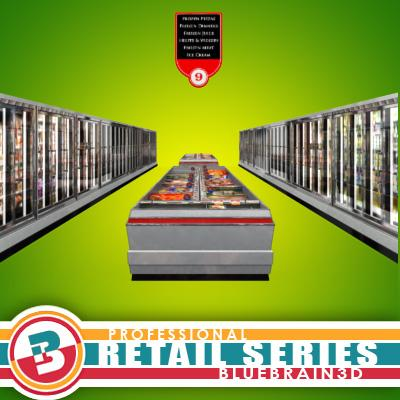 3D Model of Grocery Store Freezer Aisle - 3D Render 0