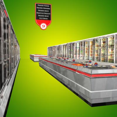 3D Model of Grocery Store Freezer Aisle - 3D Render 1