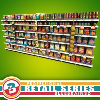 3D Model of Grocery shelves stocked with low poly snack products - 3D Render 0