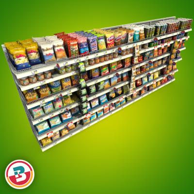3D Model of Grocery shelves stocked with low poly snack products - 3D Render 1
