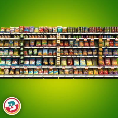 3D Model of Grocery shelves stocked with low poly snack products - 3D Render 2