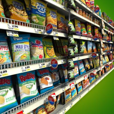 3D Model of Grocery shelves stocked with low poly snack products - 3D Render 3