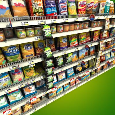 3D Model of Grocery shelves stocked with low poly snack products - 3D Render 4