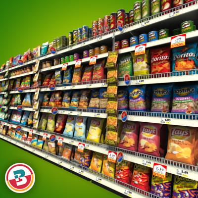 3D Model of Grocery shelves stocked with low poly snack products - 3D Render 5