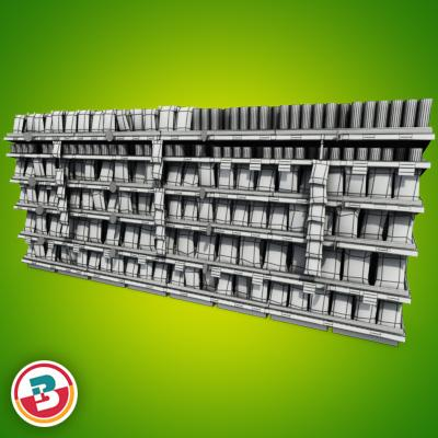 3D Model of Grocery shelves stocked with low poly snack products - 3D Render 7