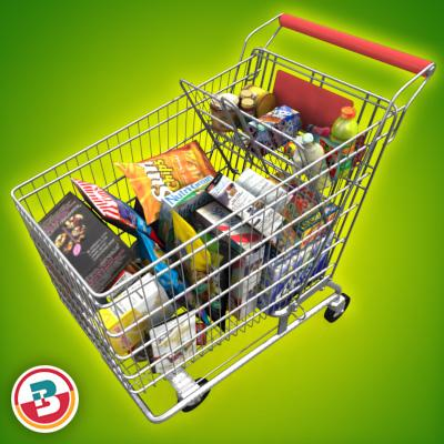 3D Model of Shopping cart full of grocery products - 3D Render 1