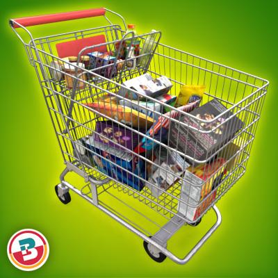 3D Model of Shopping cart full of grocery products - 3D Render 2